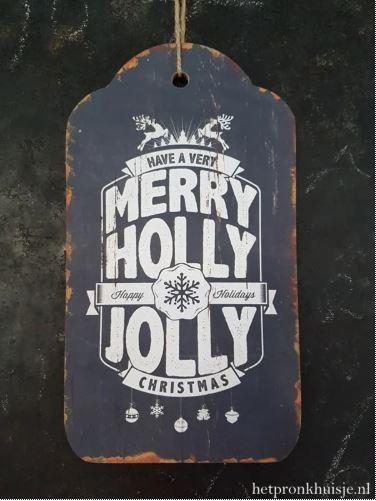 Houten kerstlabel.