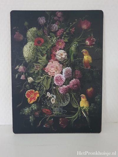 Afbeelding op hout. Bloemen met vogels