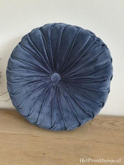 Prachtige ronde velvet kussen. Blauw