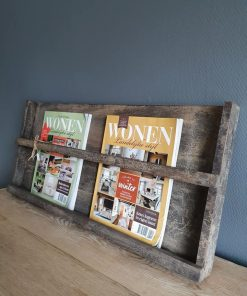 Magazine wandrek in grey finish kleur.
