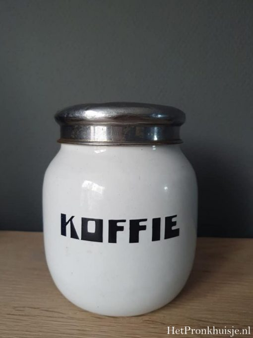 Wit emaille koffiebus.