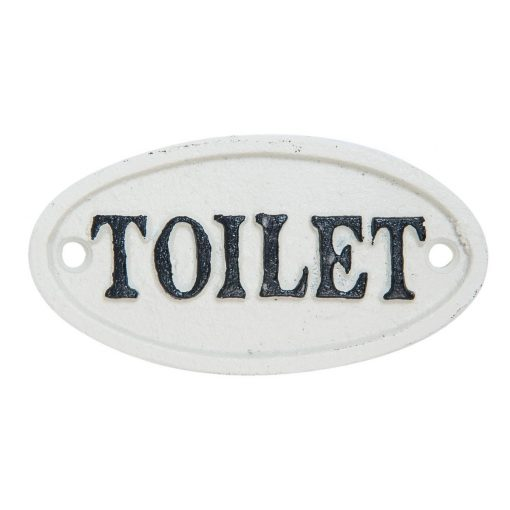 Nostalgisch wit ijzeren toiletbordje.