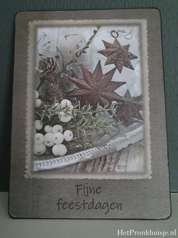 Afbeelding op hout. Fijne feestdagen