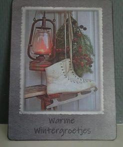 Afbeelding op hout. Warme wintergroet