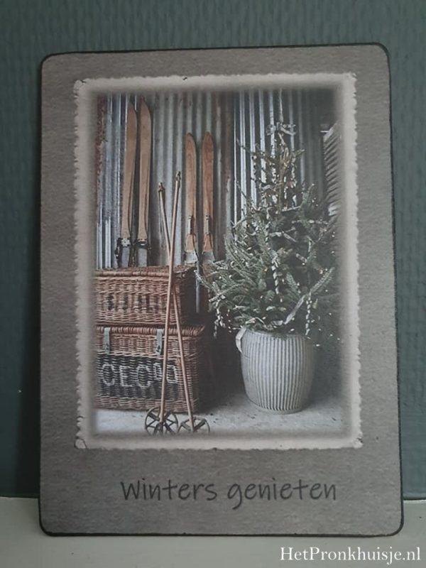 Afbeelding op hout. Winters genieten